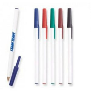 White Stick Pen w/Colored Cap