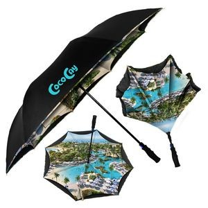 Double Canopy Full-Color Digital Inversa Inverted Umbrella - Auto-Open, Reverse Closing