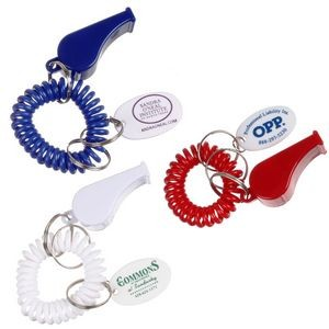 Whistle & Coil Keychain w/ Oval Key Tag