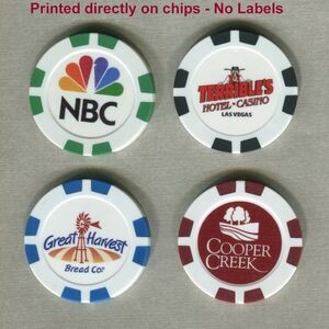 Clay Poker Chips w/ TSR 8 Stripe & 4 Color Process Imprint/ No Labels
