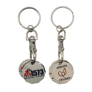 0.25 Cents and $1 Shopping Cart Coins w/ Key Chain (1 Side)