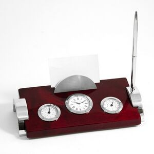 Desk Weather Station & Clock - Rosewood