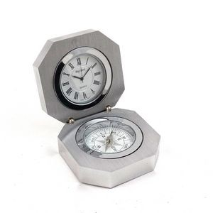 Clock & Compass in Stainless Case