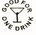 Custom Stock Cuts Wooden Nickel w/ Good For One Drink/Martini Glass