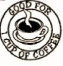 Custom Stock Cuts Wooden Nickel w/ Good for 1 Cup of Coffee