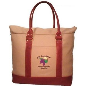 18 Oz. Natural Canvas Covered Polo Leather Trim Tote Bag