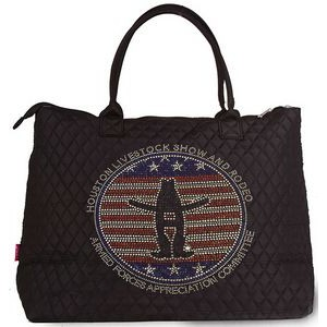 Quilted Over The Shoulder Tote/Weekender Bag with Custom Rhinestone Design