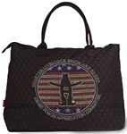 Custom Quilted over the shoulder tote/weekender bag with custom rhinestone design