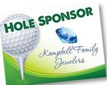 Custom Hole Sponsor Golf Sign w/Golf Ball on Tee (Horizontal, 18