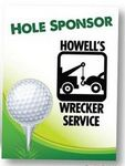 Custom Hole Sponsor Golf Sign w/Golf Ball on Tee (Vertical, 12