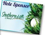 Custom Hole Sponsor Golf Sign w/Golf Ball (Horizontal, 18