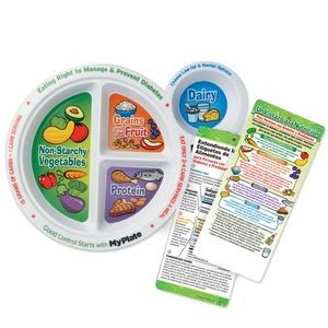 Portion Meal Plate With Spanish Language Glancer For People With Diabetes