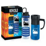 Custom Hot & Cold Beverage Gift Set W/Bottle & Mug (Blue, Personalized)