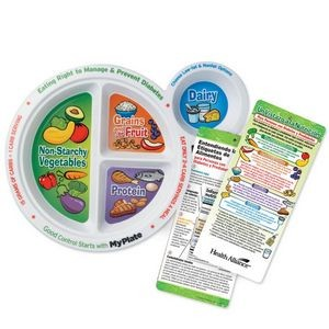 Portion Meal Plate With Spanish Language Glancer For People With Diabetes - Personalization Availabl