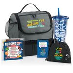 Custom Proud Member Of An Awesome Nursing Team Gift-A-Day Pack W/Lunch Bag, Tumbler, Lapel Pin, & Candy