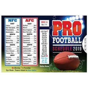 2019 Pro Football Season Wallet Size Schedule - Personalization Available
