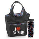 Custom Insulated Tumbler & Roslyn Lunch Bag Gift Combo (I Heart Nursing)