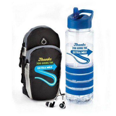 Thanks For Going The Extra Mile Cell Phone Arm Band with Earbuds & Tritan™ Gripper Water Bottle