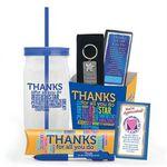 Custom Thanks For All You Do! Gift Basket W/Tumbler, 6 Function Pen, Key Tag, & Lapel Pin