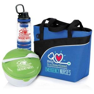 Emergency Nurses Lunch/Cooler Bag, Food Container & Fruit Infuser Water Bottle Gift Trio
