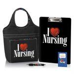 Custom I Heart Nursing 4-Piece Gift Set W/Lunch Bag, Clipboard, Pen, & Lapel Pin