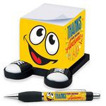Custom Smiley Guy Sticky Note Cube & Full-Color Pen Gift Set (Thanks For Being Awesome)