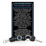 Custom The Thin Blue Line Paracord Key Chain w/ Card