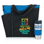 Custom Meadowbrook Tote Bag & Color Grip Tumbler Combo (Proud Member Of An Awesome Nursing Team)