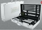 Custom 10 Piece BBQ Set in Aluminum Case with Skewers/ Knives/ Spatula & Tongs