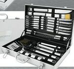 Custom 24 Piece BBQ Set with Skewers/ Tongs/ Cleaning Brush & Knives