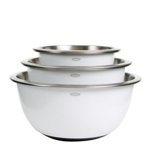 Oxo 3 Piece White Stainless Steel Mixing Bowl Set