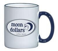 12 Oz. White Ceramic Mug w/ Blue Rim & Handle