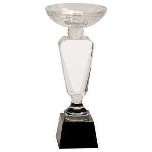 "11"" Clear Crystal Cup with Black Pedestal Base"