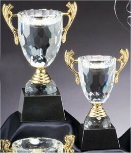 Gold Trim Crystal Loving Cup - Large