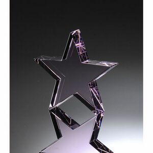 "Large Rose Standing Star Crystal Award (6""H)"