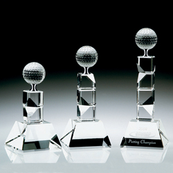 "V Tower Golf Trophy - Medium (3 1/8""x3 1/8""x7 3/4"")"