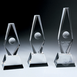 "Golf Ball Diamond Trophy - Large (3 1/8""x2 3/8""x9.5"")"