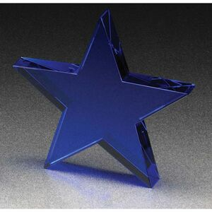 "Blue Standing Star Crystal Award - Large (6"")"