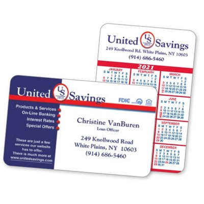 2-Color Calendar & Business Laminated Wallet Card- (Spanish Calendar/American Holiday)