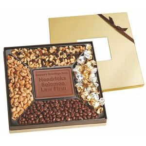 Square Window Gift Box Sampler w/ Custom Chocolate Centerpiece & 4 Gourmet Fill