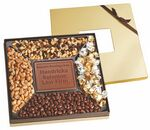 Custom Square Window Gift Box Sampler w/ Custom Chocolate Centerpiece & 4 Gourmet Fill