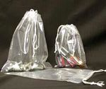 Custom 1.5 Mil Polypropylene Double Drawstring Bags w/ Write On Block (5