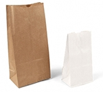 Custom White Kraft Stand Up Plain Merchandise Bags - 12