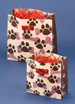 Custom Paws Design Frosted Plastic Bag w/ Die Cut Handles (8