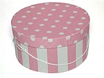 Custom Pink & White Stripe Deluxe Round Fabric Box (17