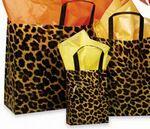 Custom Leopard Pattern Frosted Plastic Bag w/ Loop Handles (16