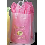 Custom Clear Frosted Shopping Bag W/ Soft Loop & Die Cut Handles (8