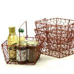 Custom Antique Red Wire Basket
