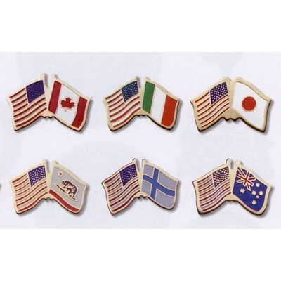 Photo Etched Dual Country Flag Pin (USA/ Canada)