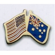 Photo Etched Dual Country Flag Pin (USA/ Australia)